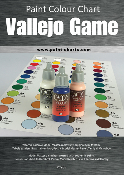 Paint Colour Chart Vallejo Game Color 20mm Pjb Pc209
